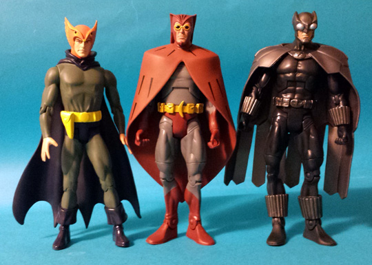 Crime Syndicate Owl Man, classic and Modern, with Nite Owl
